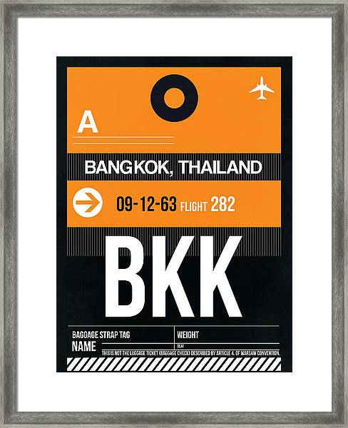 Bkk Bangkok Luggage Tag I Framed Print