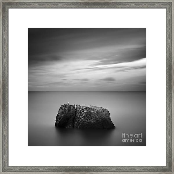 Black & White Rocky Seascape Scene With Framed Print