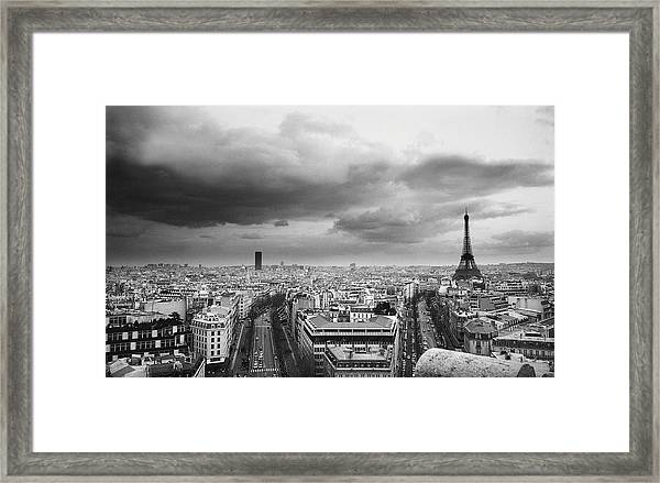 Black And White Aerial View Of An Framed Print