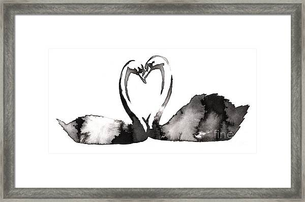 Black And White Monochrome Painting Framed Print