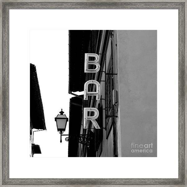 Black And White Neon Lights Spelling Framed Print