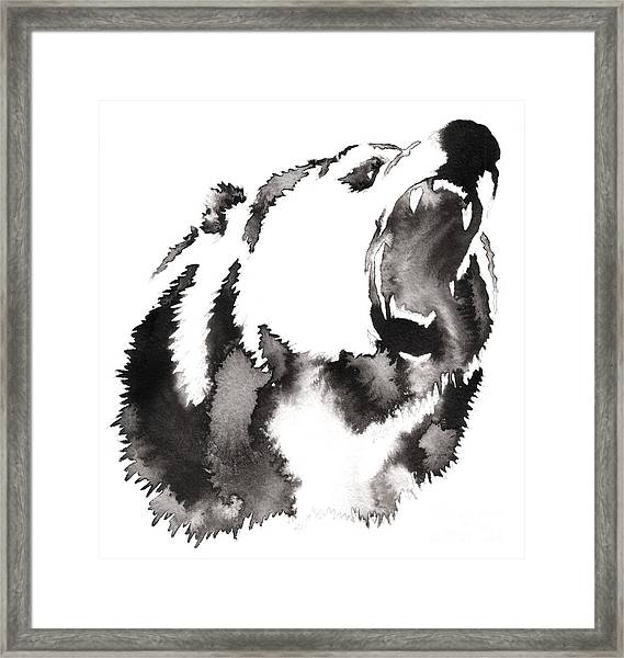 Black And White Painting With Water And Framed Print