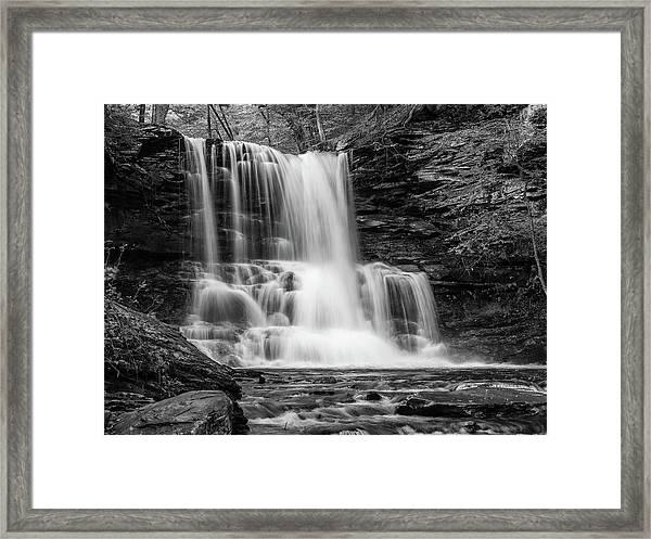 Black And White Photo Of Sheldon Reynolds Waterfalls Framed Print