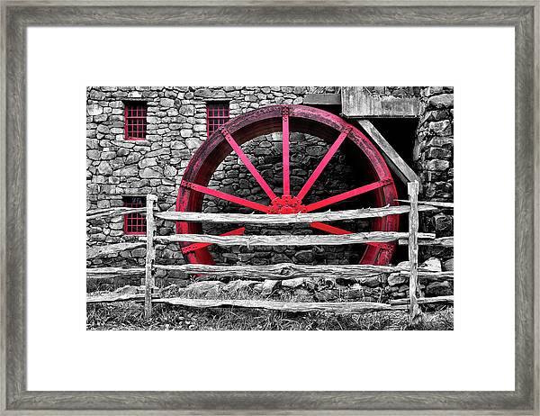 Black And White With Red - Grist Mill Framed Print