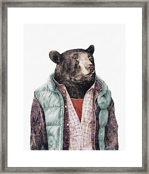 Black Bear Cyan Framed Print