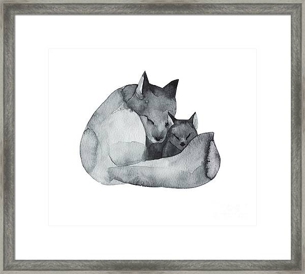 Black Fox And The Baby-watercolor Framed Print