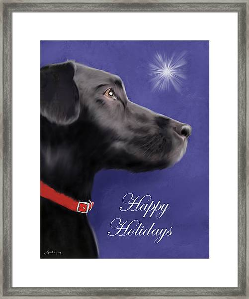 Black Labrador Retriever - Happy Holidays Framed Print