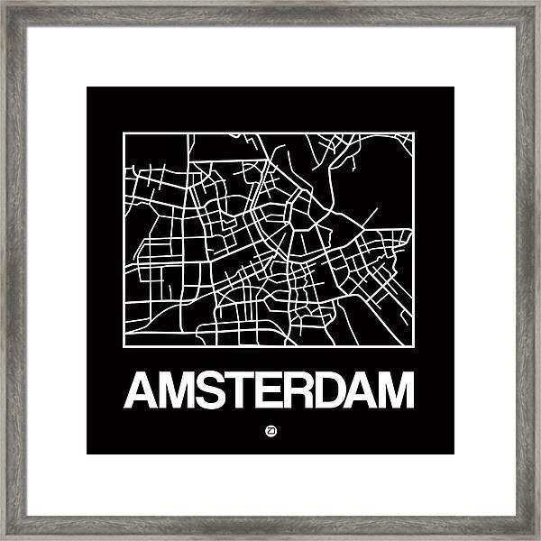 Black Map Of Amsterdam Framed Print