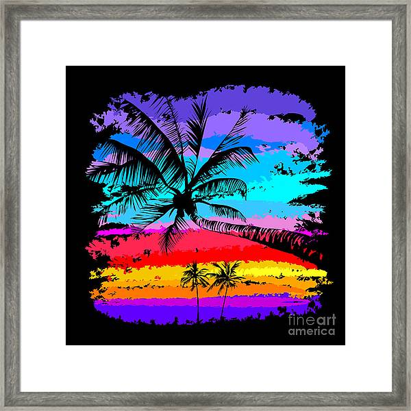 Black Silhouettes Of Palm Trees On A Framed Print