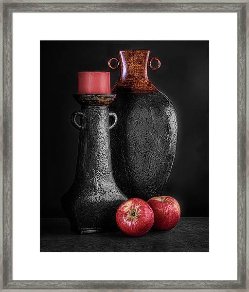 Black Vase With Red Apples Framed Print