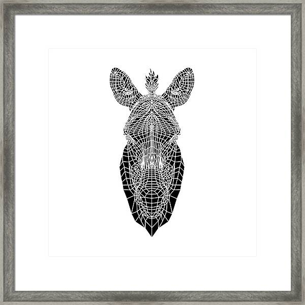Black Zebra Head Mesh Framed Print