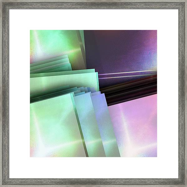 Blank Reflective Aluminum Plates. Blue, Pink And Purple. Fashion Abstract Background. Framed Print