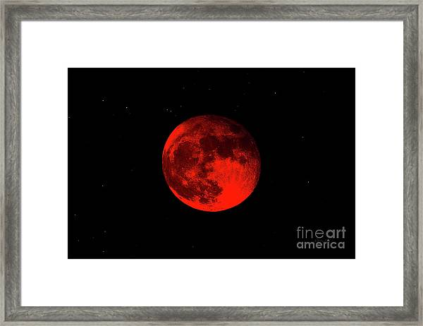Blood Red Wolf Supermoon Eclipse 873a Framed Print