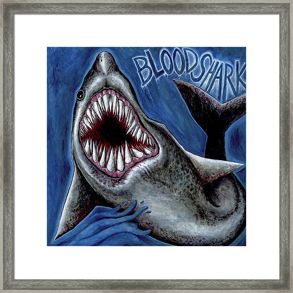 Blood Shark Framed Print
