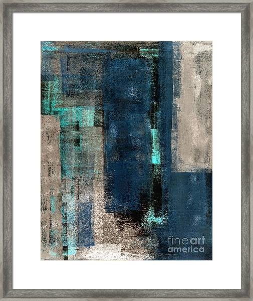Blue And Beige Abstract Art Painting Framed Print
