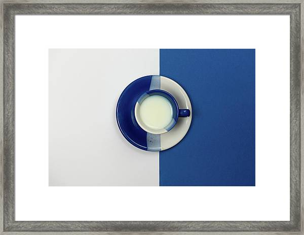 Blue And White Coffee Mug With Fresh Milk Framed Print
