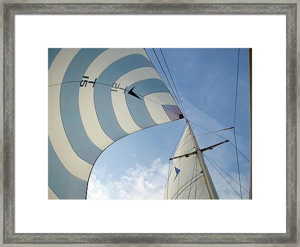 Blue And White Spinnaker Framed Print