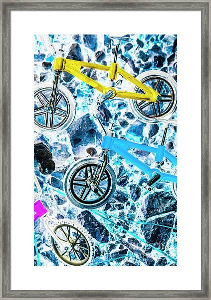 Blue Bike Background Framed Print