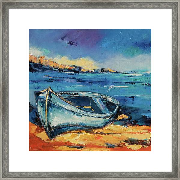 Framed Print featuring the painting Blue Boat On The Mediterranean Beach by Elise Palmigiani