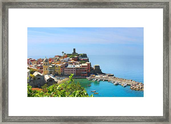 Blue Cinque Terre Framed Print by Christine Buckley
