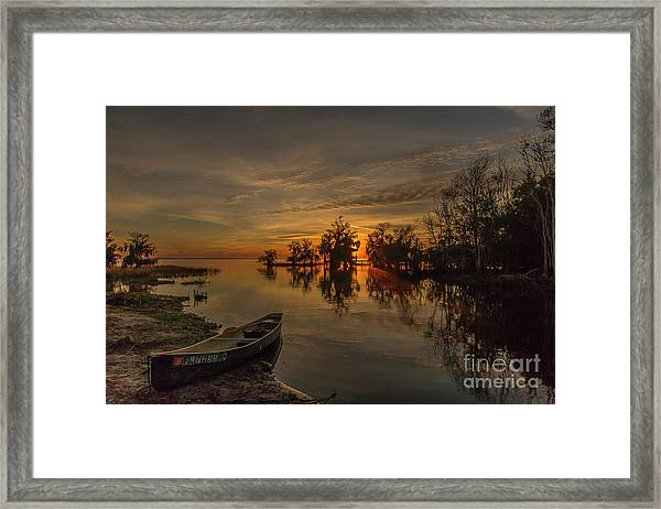 Framed Print featuring the photograph Blue Cypress Canoe by Tom Claud