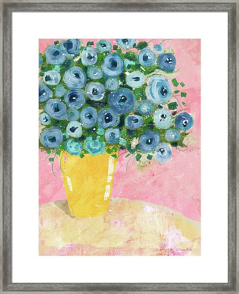 Blue Flowers In A Yellow Vase- Art By Linda Woods Framed Print