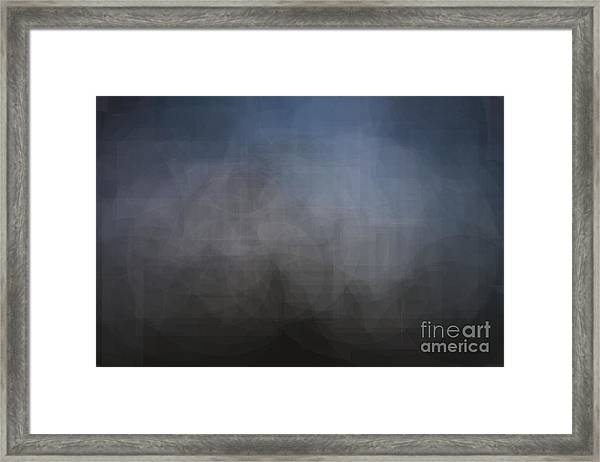 Blue Gray Abstract Background With Blurred Geometric Shapes. Framed Print