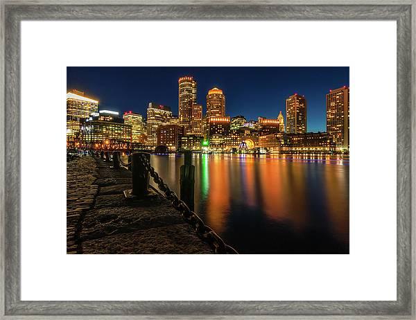 Blue Hour At Boston's Fan Pier Framed Print