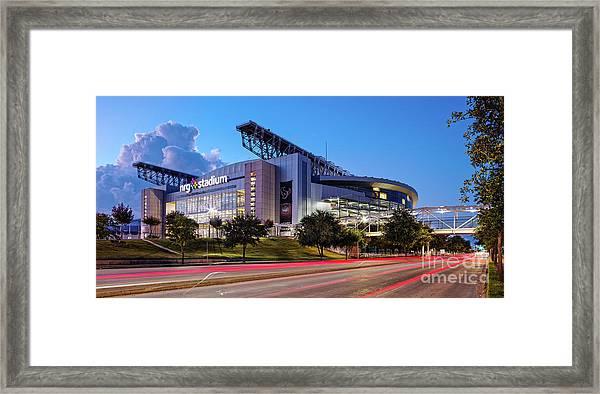 Blue Hour Photograph Of Nrg Stadium - Home Of The Houston Texans - Houston Texas Framed Print