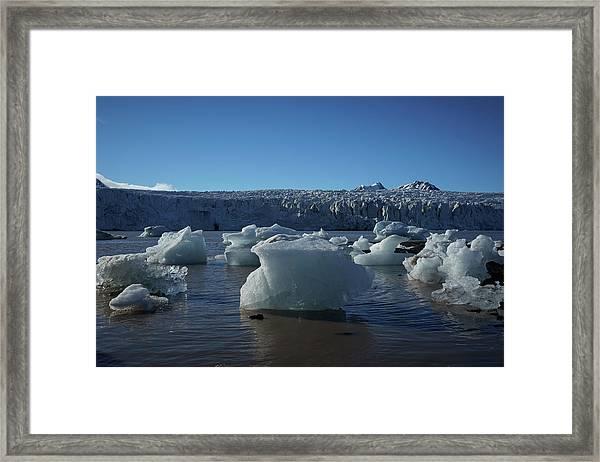 Blue Icebergs Floating Along Storm Arctic Coast Panorama Framed Print