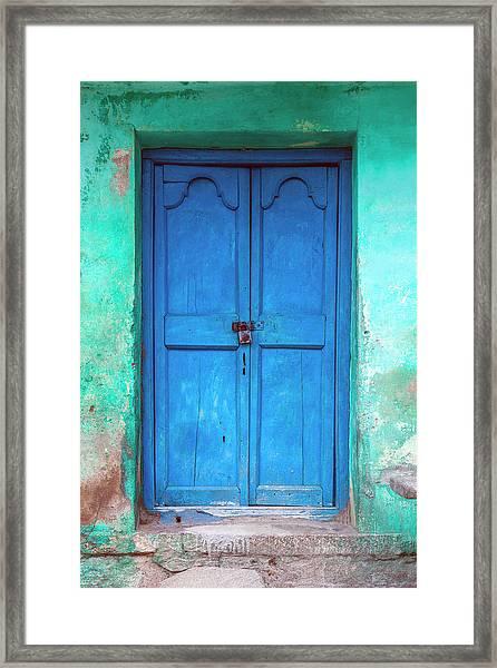 Blue Indian Door Framed Print