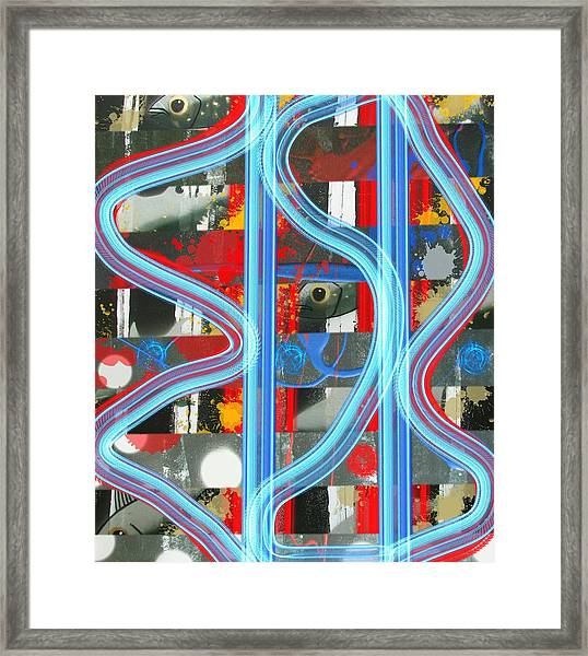 Blue Meet Red Black And White Fish Framed Print