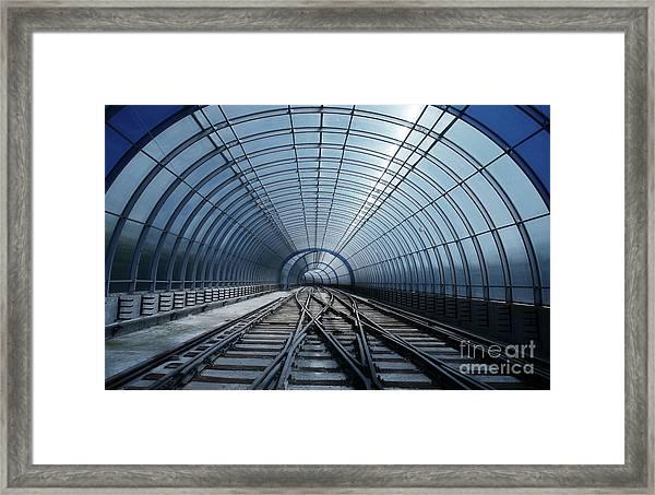 Blue Metro Tube Tunnel Framed Print