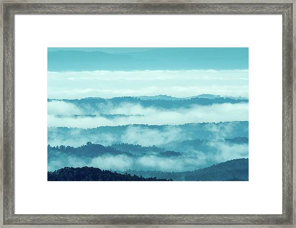 Blue Ridge Mountains Layers Upon Layers In Fog Framed Print