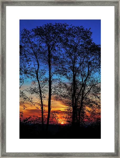 Blue Ridge Sunrise The Sun Emerges Framed Print by Dan Carmichael