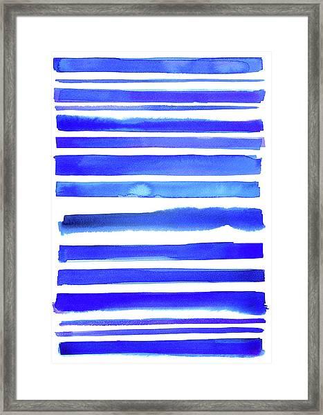Blue Textured Stripes Framed Print