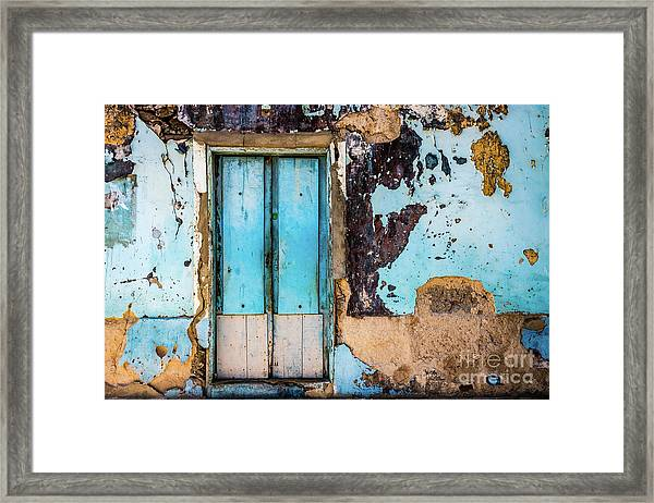 Blue Wall And Door Framed Print