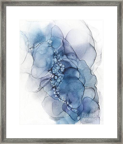 Blue Whispy 2 Abstract Painting Framed Print