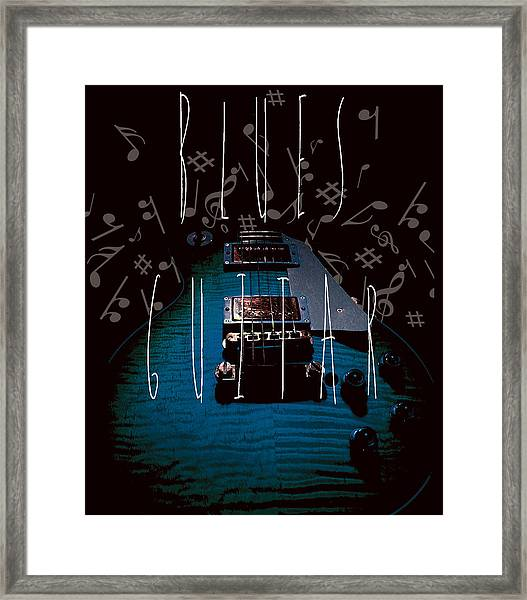 Blues Guitar Music Notes Framed Print