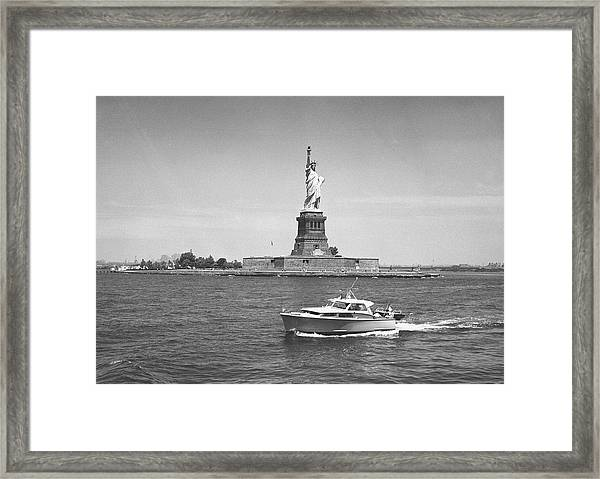 Boat Floating By Statue Of Liberty, New Framed Print