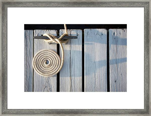 Boat Rope Coiled On Dock Framed Print