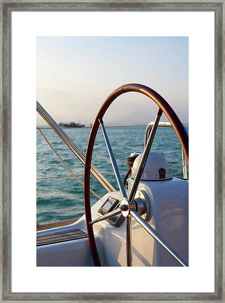 Boat Steering Wheel Framed Print