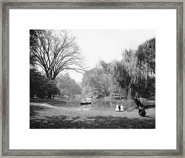 Boaters On Lake, Prospect Park Framed Print