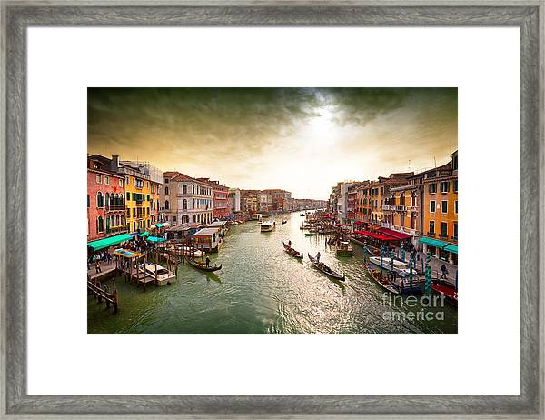 Boats And Gondolas On The Grand Canal Framed Print