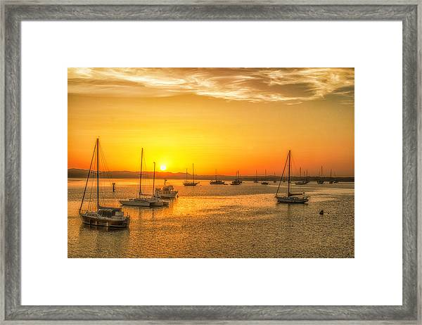 Boats At Sunset Framed Print by Fernando Margolles