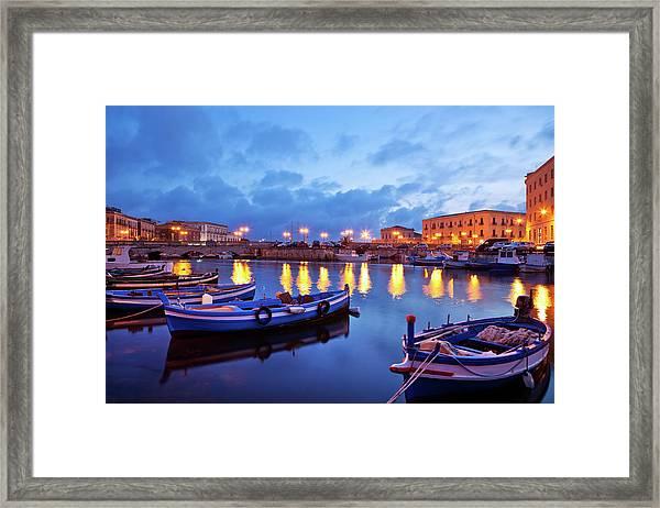 Boats In Sicily, Italy Framed Print