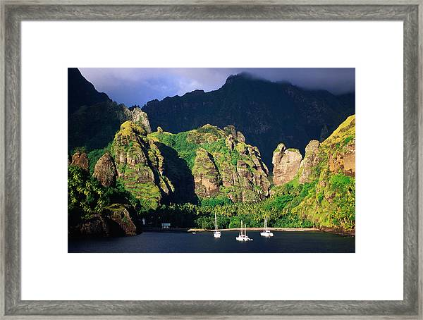 Boats Moored At The Bay Of Virgins Framed Print