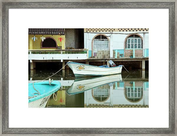 Boats On Still Lagoon Framed Print by Blind Dog Photo Dan Gair