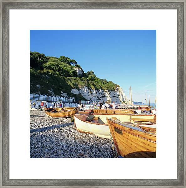 Boats On The Beach, Beer, Devon Framed Print