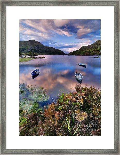 Boats On Water In Killarney National Framed Print